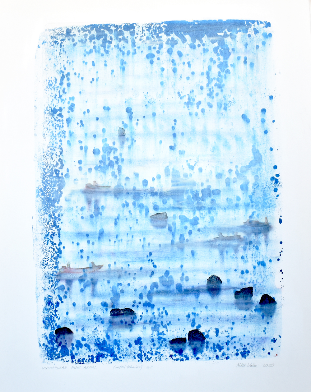 Vihmapiisad minu aknal / Raindrops On My Window (62x45cm, autoritehnika / authors technique)